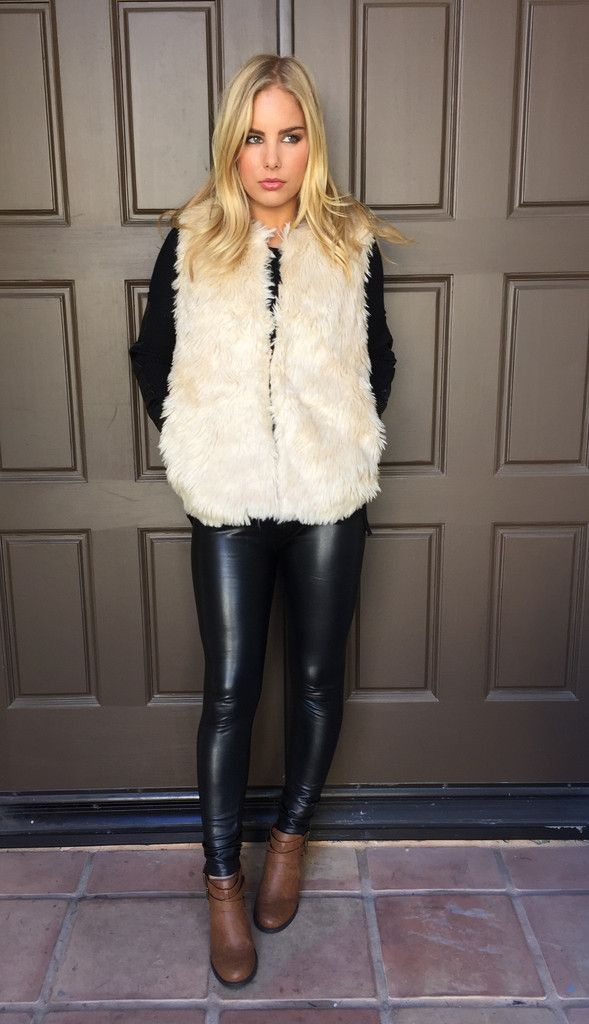 b213ef11b2ad7 Cream Faux Fur Vest, leather leggings, ankle boots   what to wear ...