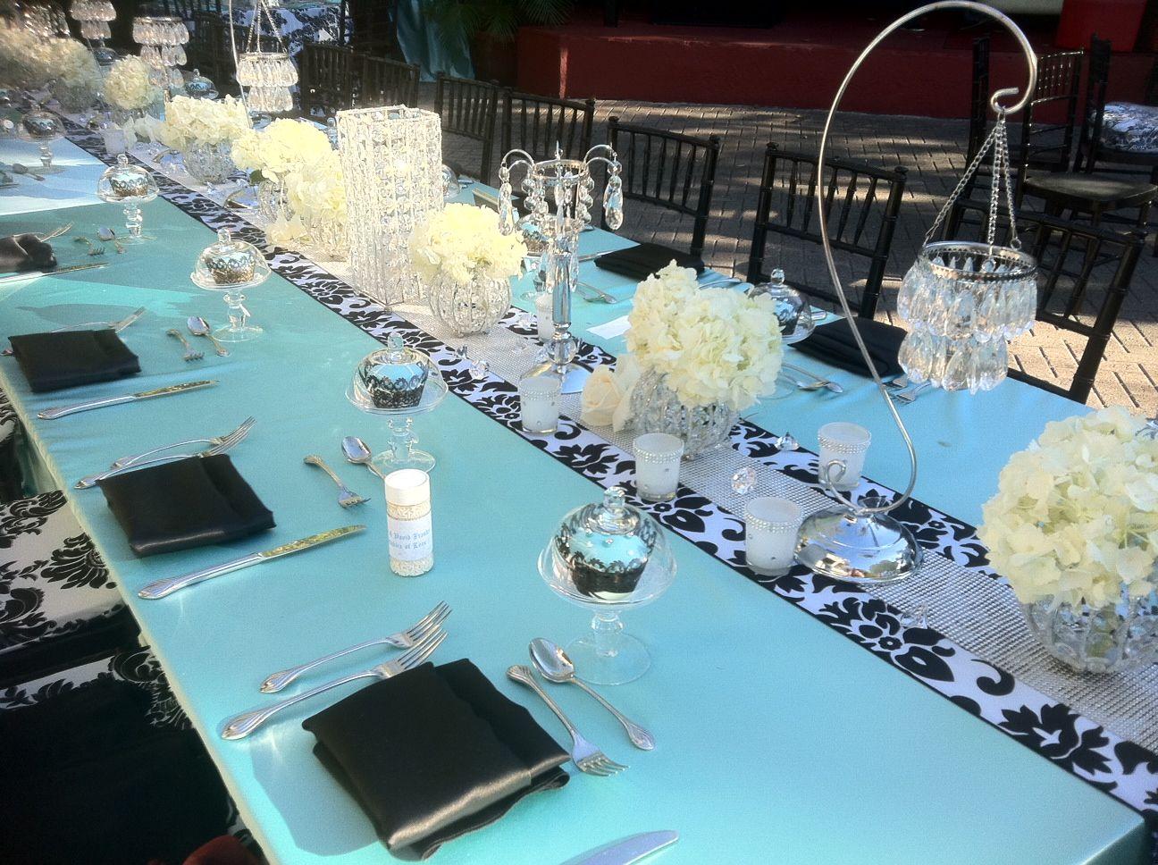 Bat Mitzvah Event Decor Turquoise Black Color Scheme Party Perfect Boca Raton Fl 1