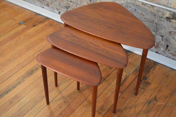 ... Mid Century Nesting Tables Image Collections Table Decoration Ideas  Danish Modern Triangle Teak Nesting Tables Mid ...