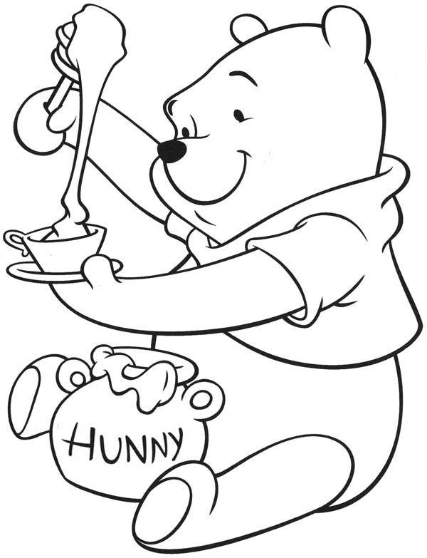 Honey, : Winnie the Pooh Enjoying Tea with Honey Coloring