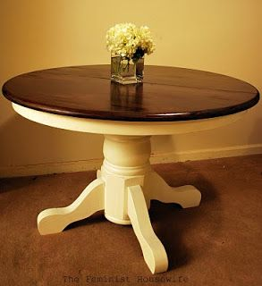 Just bought a beautiful pedestal table on kijiji for our nook and this is what I'm going to transform it in to! LOVE it!