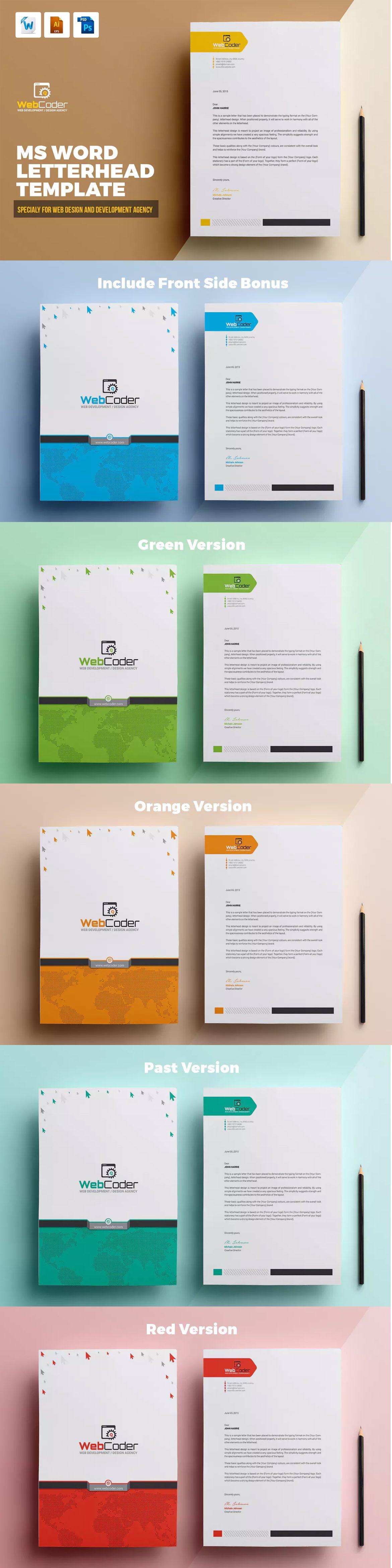 web design agency ms word letterhead web coder ai eps psd a4