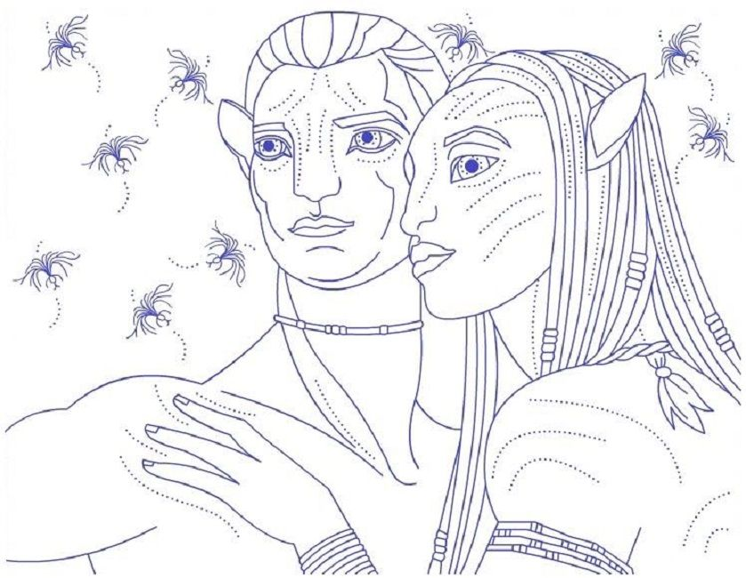 Blue Avatar Coloring Pages