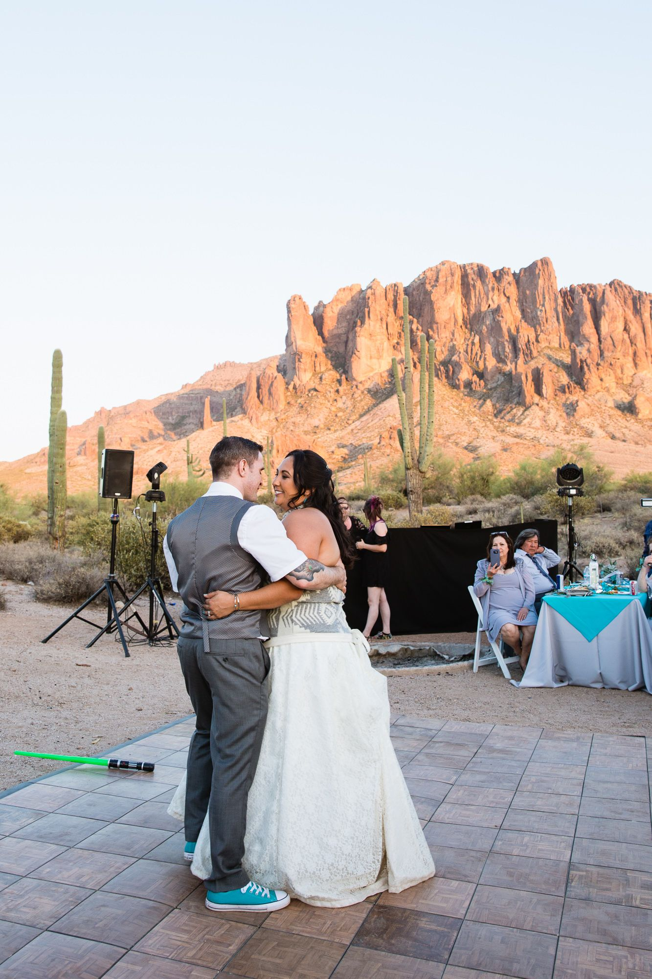 Bride And Grooms First Dance At Their Lost Dutchman State Park Wedding Reception By Arizona