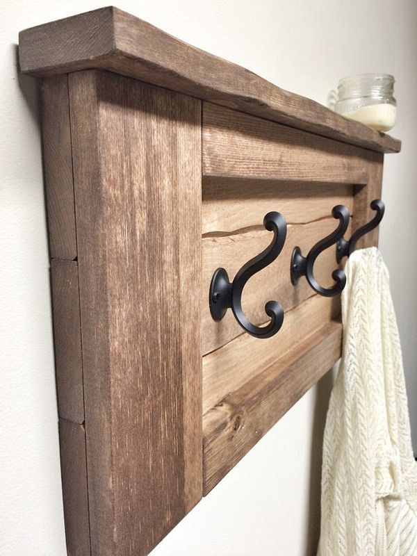 13 Hat Rack Ideas Easy And Simple For Sweet Home Wooden Wall Hooks Rustic Wooden Shelves Rustic Coat Rack