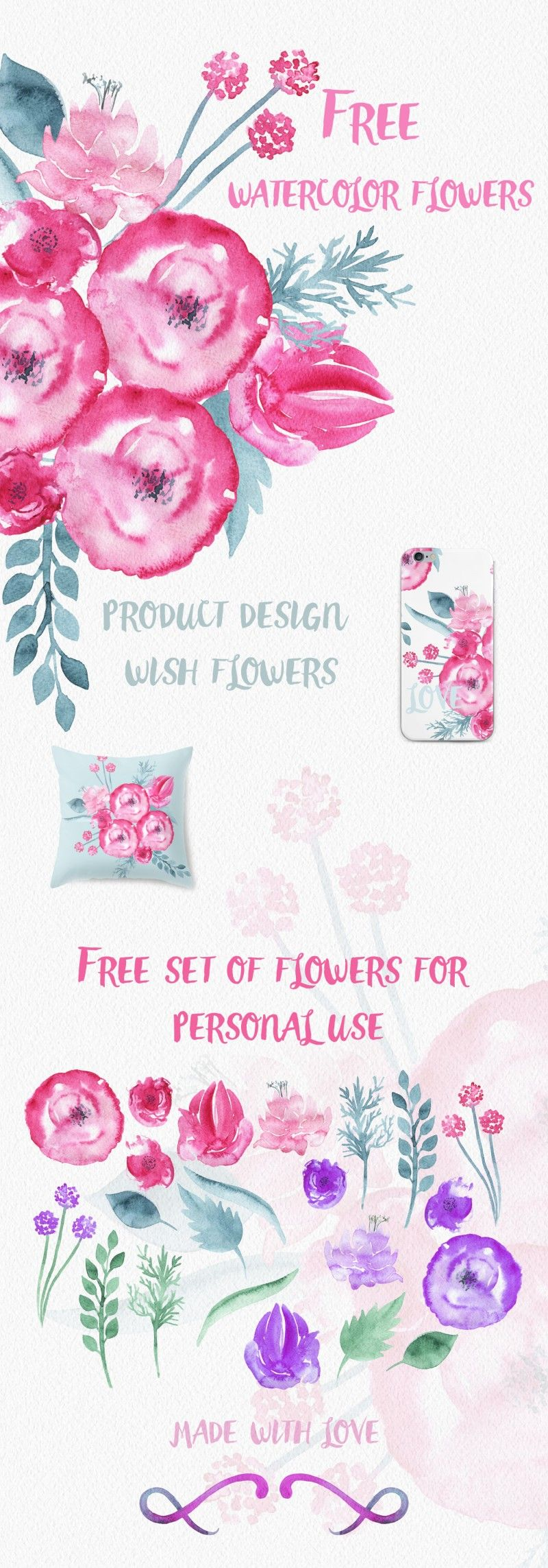 Free Watercolor Flower Set The Hungry Jpeg Free Watercolor Flowers Watercolor Flowers Floral Watercolor