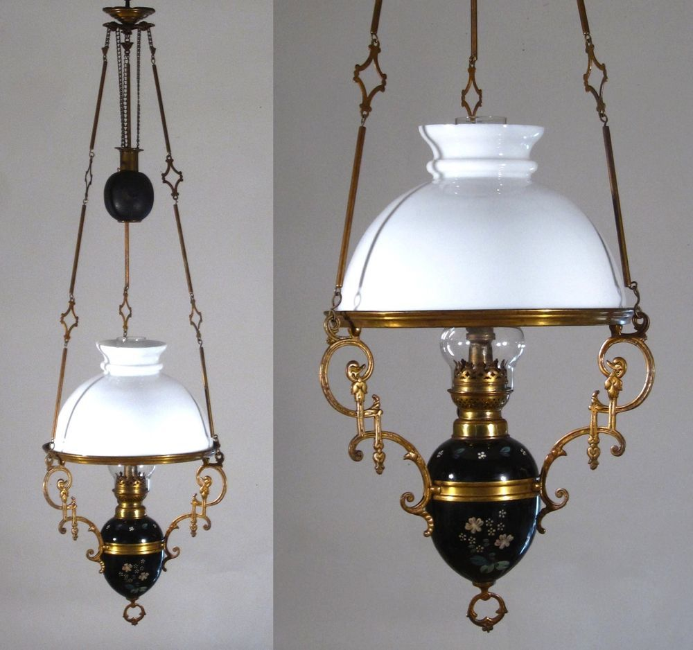 Antique French Hanging Oil Lamp, Weighted, Chandelier, Milk Glass ...