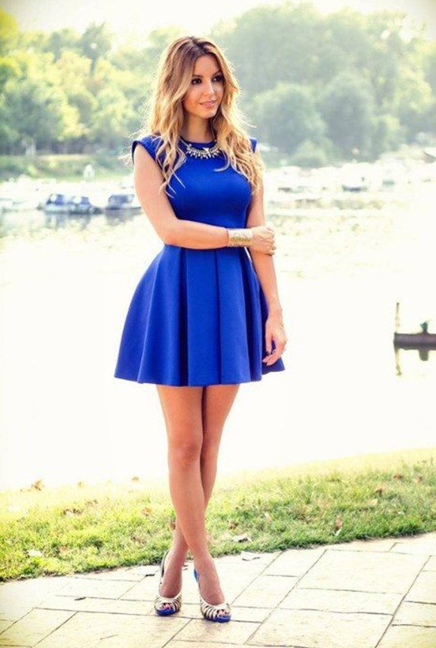 32b0d718aa Conjunto vestido azul electrico