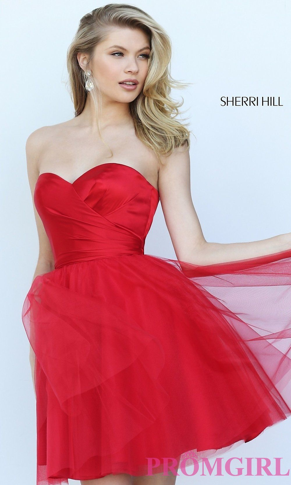 A Line Sherri Hill 50657 Satin Tulle Cocktail Dress Red
