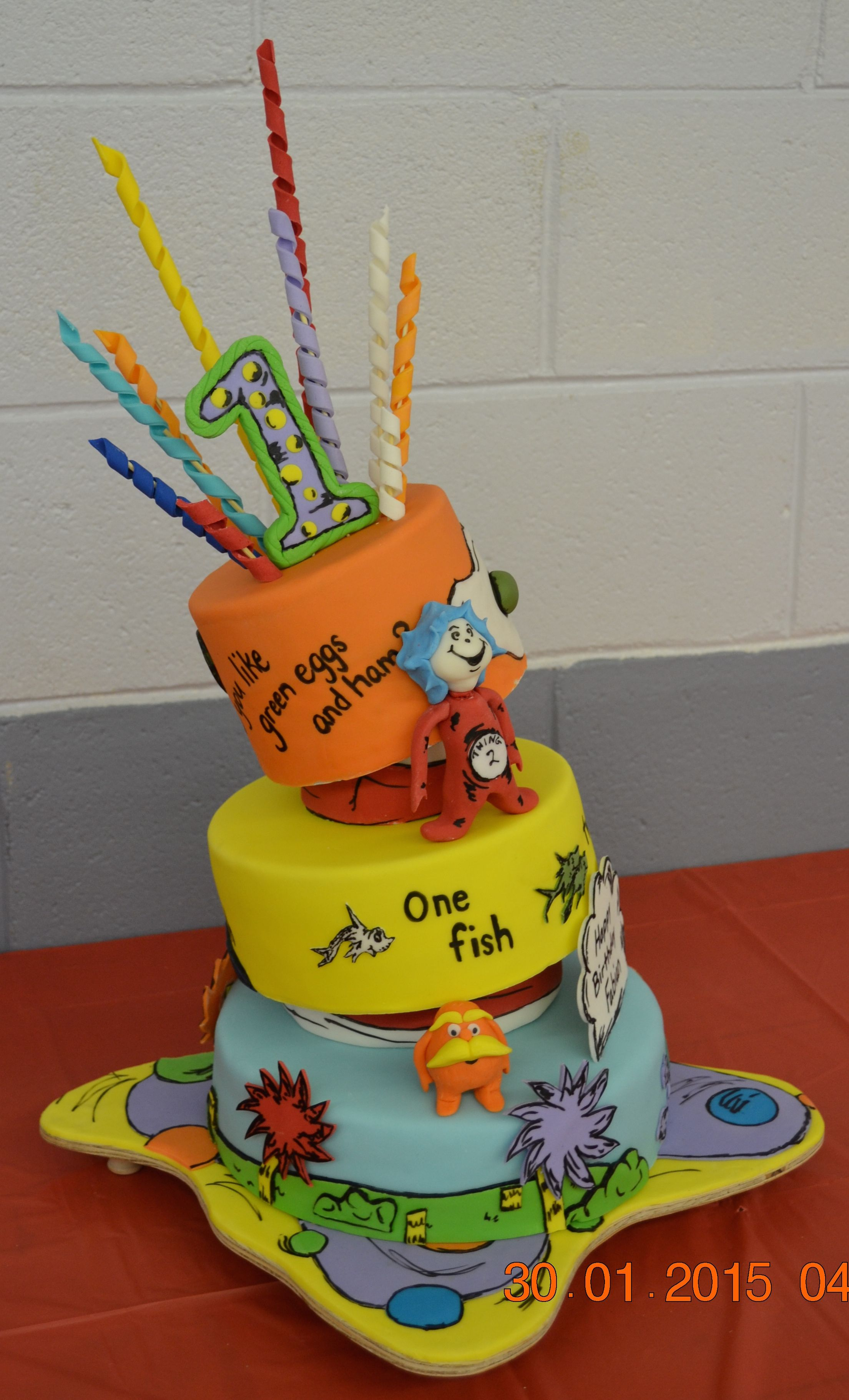 Dr Seuss cake featuring The Lorax Thing 1 2 Go Dog Go Green