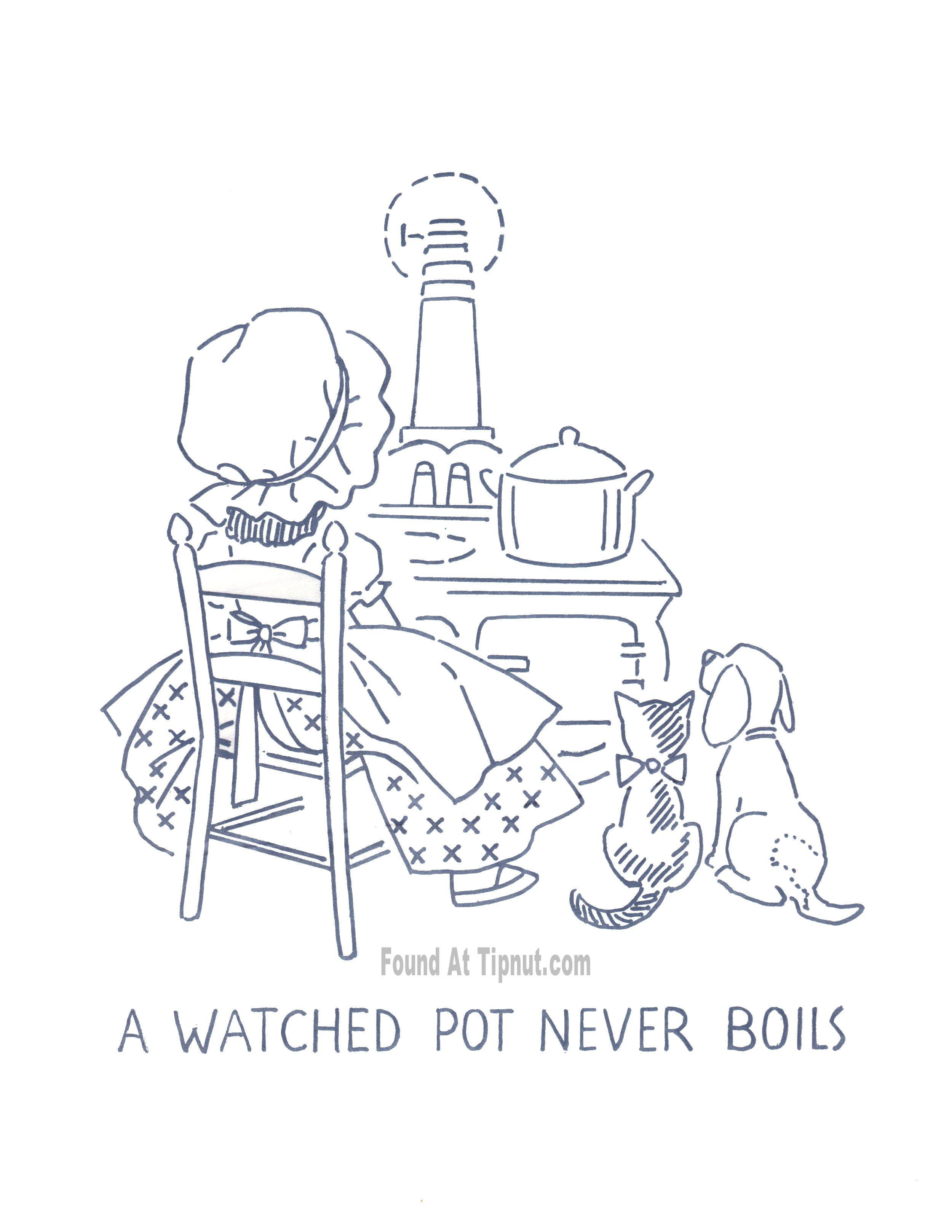 Free Kitchen Proverbs Redwork - A Watched Pot Never Boils | Redwork ...