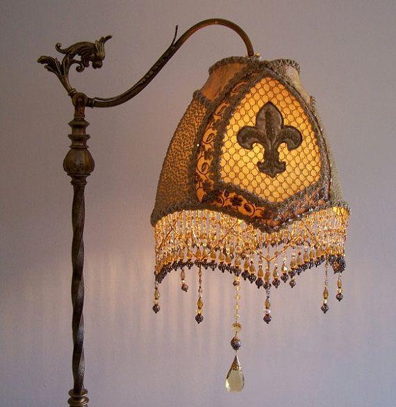 Antique Gothic Fleur De Lis Bridge Floor Lamp By