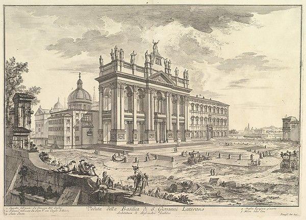Giovanni Battista Piranesi   S. Giovanni in Laterano, main façade, with Palace and Scala Santa on the right (Veduta della Basilica di S. Giovanni Laterano)   The Met