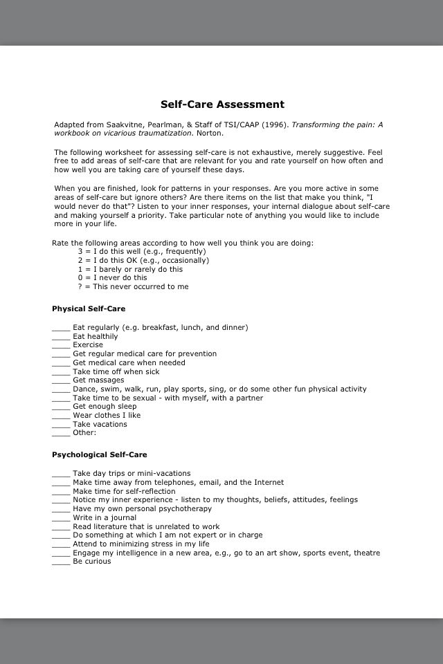 Self care assessment resiliency Pinterest - self care assessment