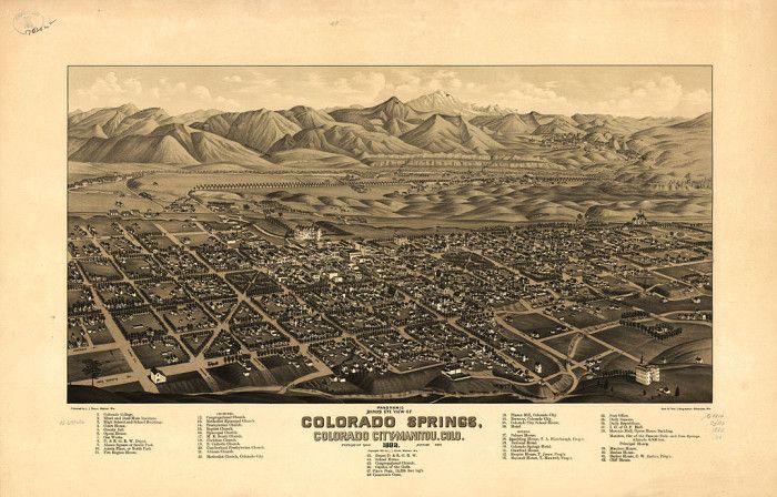 11.) Bird's Eye View Map of Colorado Springs and Manitou Springs (1882)