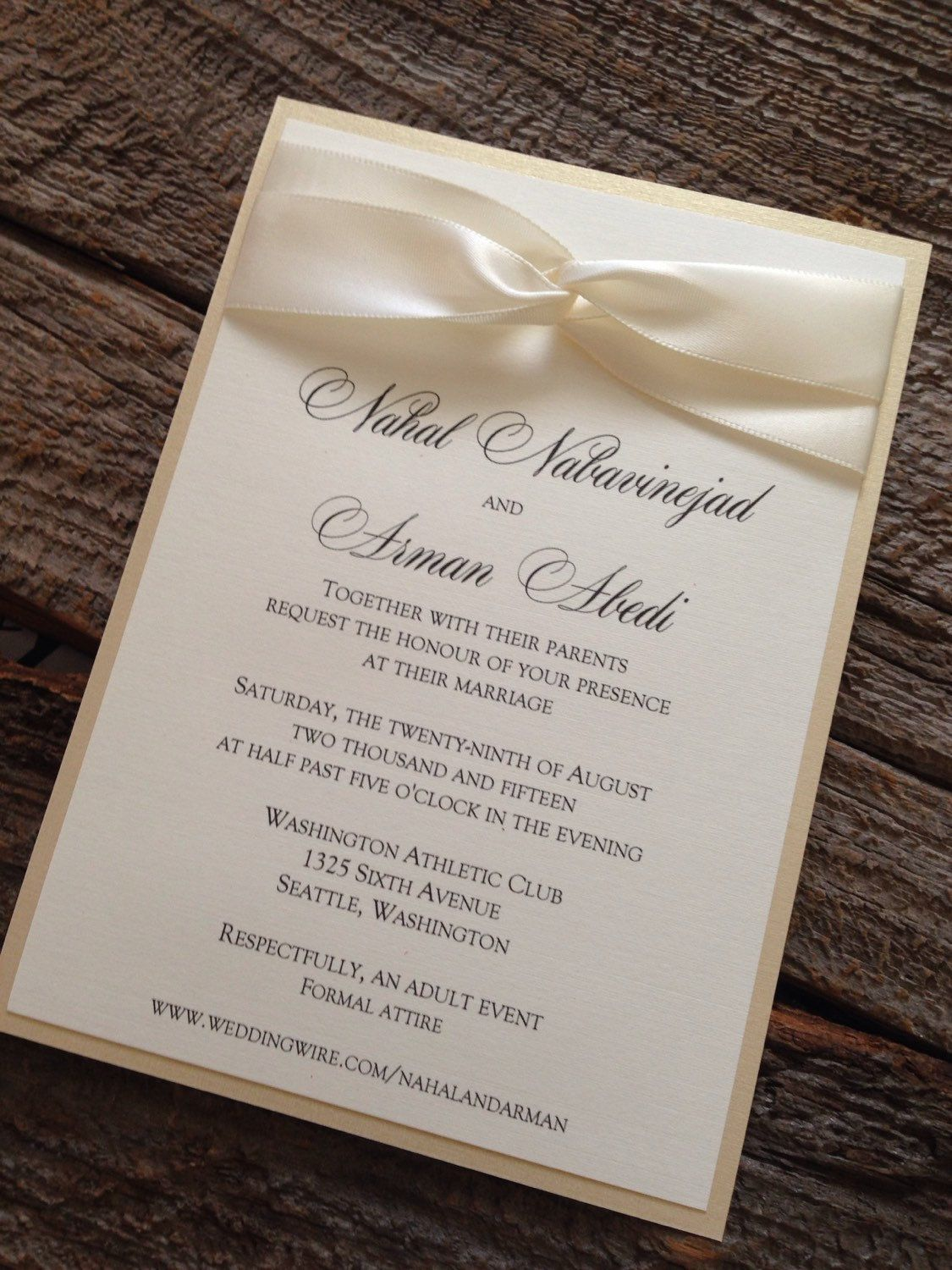 Elegant Wedding Invitation Set, Champagne Wedding Invitation ...