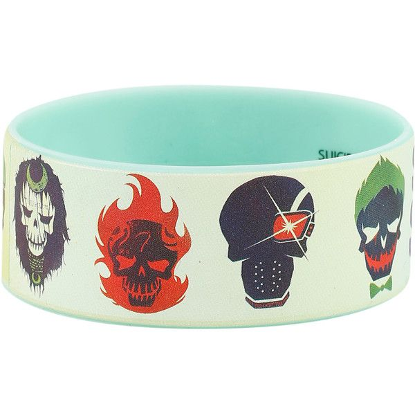 DC Comics Suicide Squad Character Skulls Rubber Bracelet ($5.60) ❤ liked on Polyvore featuring jewelry, bracelets, rubber jewelry, skull bangle, skull jewellery, skull jewelry and rubber bangles