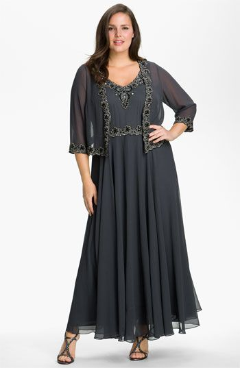 J Kara Beaded Chiffon Gown & Jacket (Plus Size) available at ...