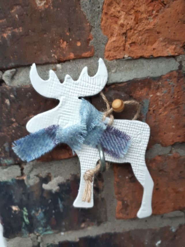 Nordic Christmas decoration moose in scarf clay 14 cm £550 Rustic - moose christmas decorations