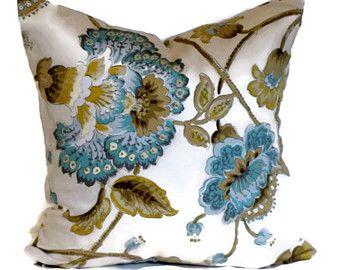 Duralee Jacobean Decorative Pillow Throw Pillow Pillow Cover 18x18 20x20 22x22 or 14x20 Lumbar Pillow Accent Pillow Aqua Blue Mocha & Tan