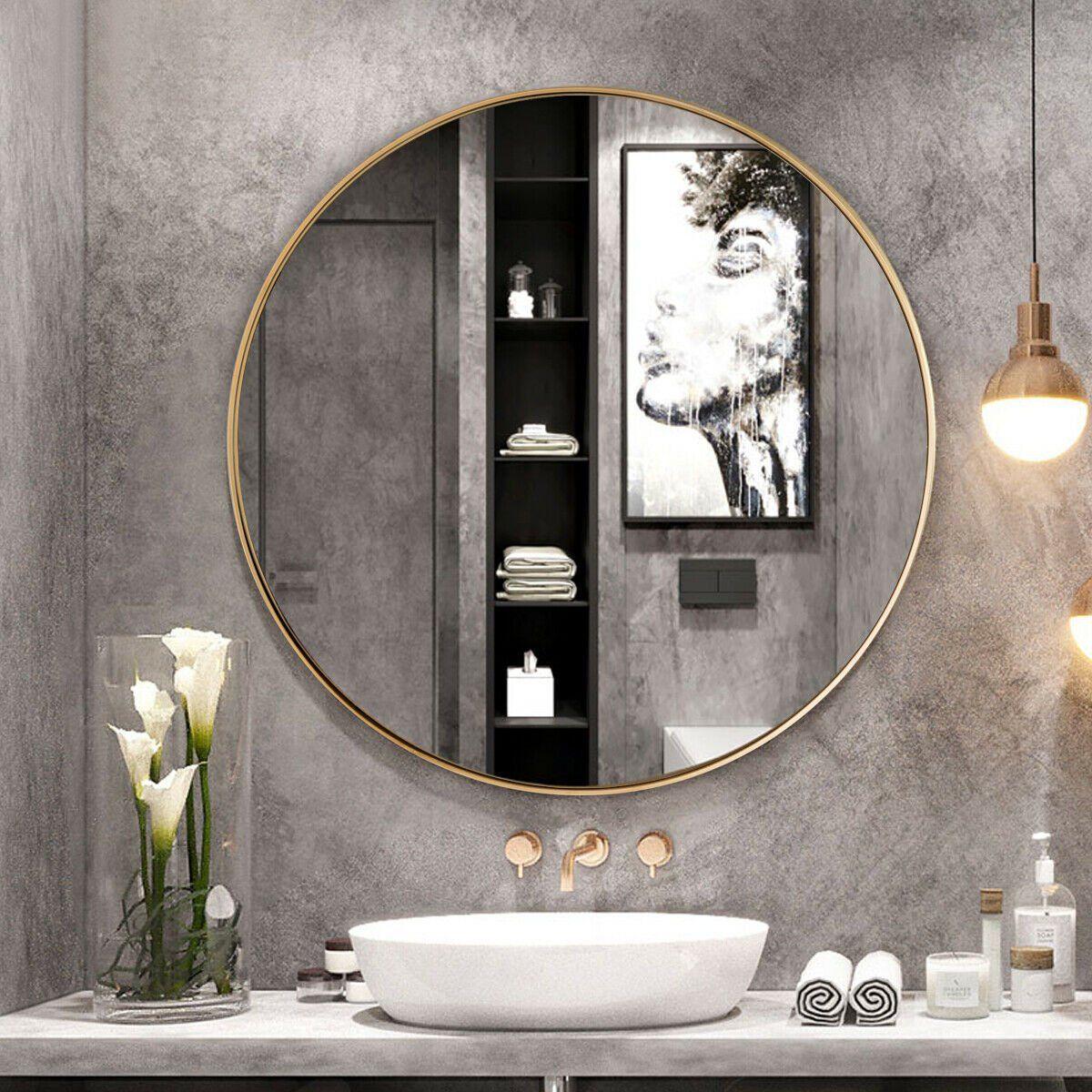 Gymax 27 5 Modern Metal Wall Mounted Round Mirror For Bathroom Entryway Gold Walmart Com In 2021 Round Mirror Bathroom Bathroom Mirror Round Mirrors [ 1200 x 1200 Pixel ]