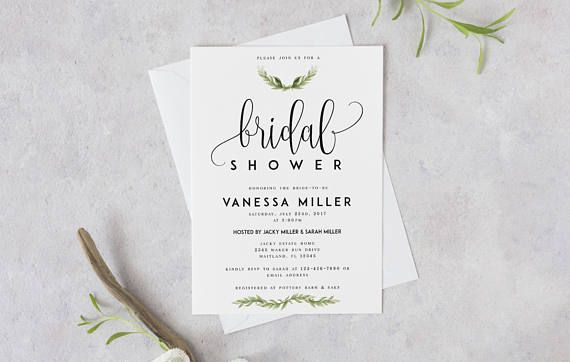 Bridal Shower Template Laurel Greenery Bridal Shower Template Diy Shower Template Pdf .