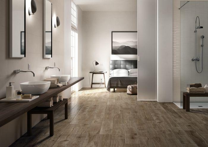 bodenfliesen bad schlafzimmer holzoptik Badezimmer Ideen - bad im schlafzimmer ideen