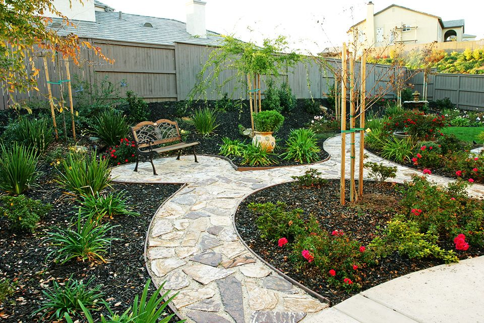 Landscaping backyards with rocks backyard bench for Back garden patio designs