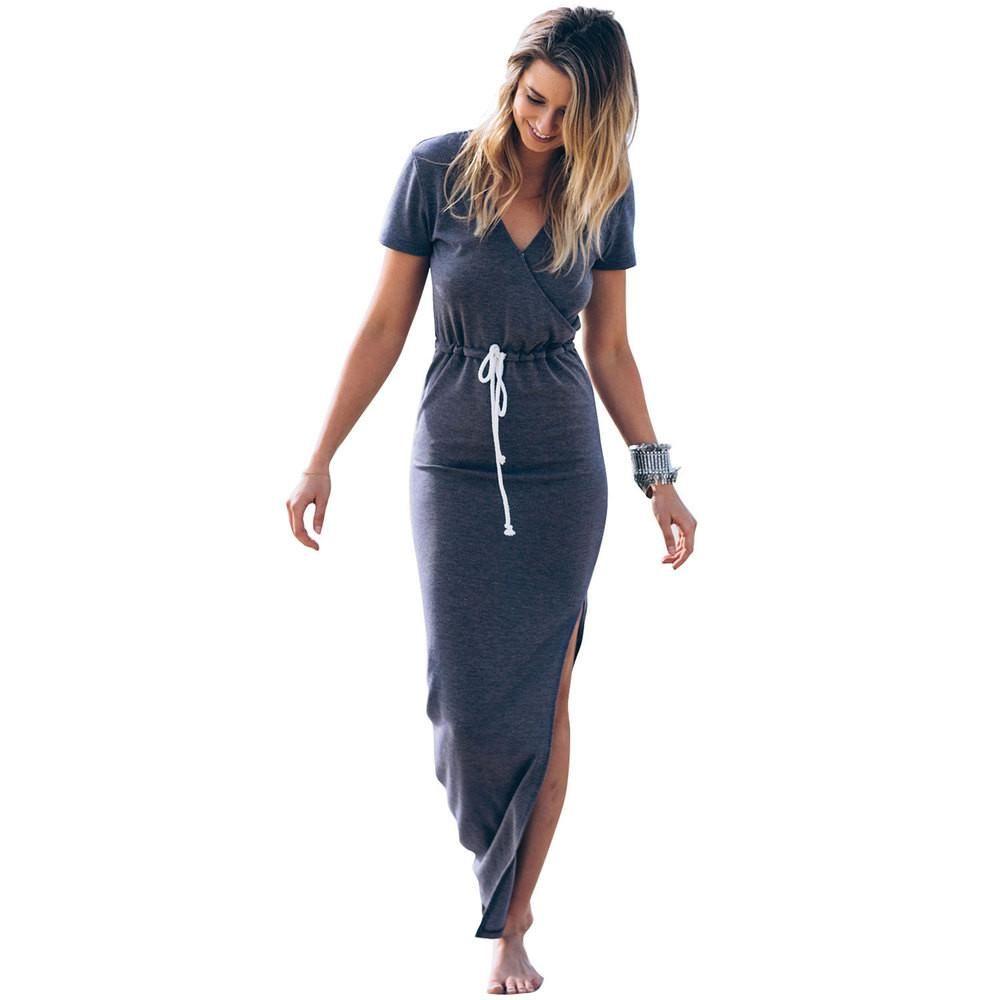 Maxi dress new v neck collect waist slim split long dress