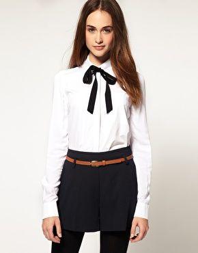 67a6e938b2e461 River Island Bow Tie Shirt | Ladies Office Attire | Bow tie shirt ...