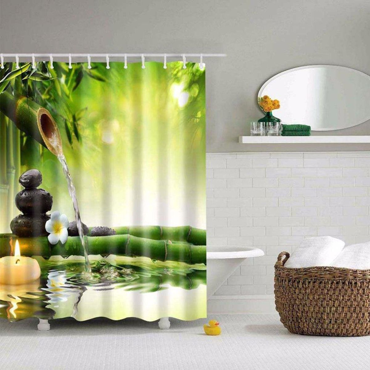 Nature Shower Curtain By Ambesonne Blooming Lemon Tree On Striped