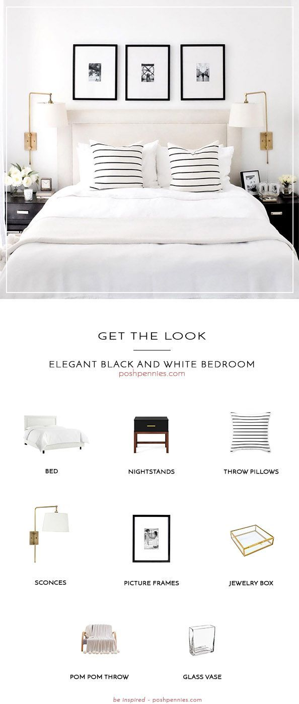 Get The Look: Elegant Black And White Bedroom images