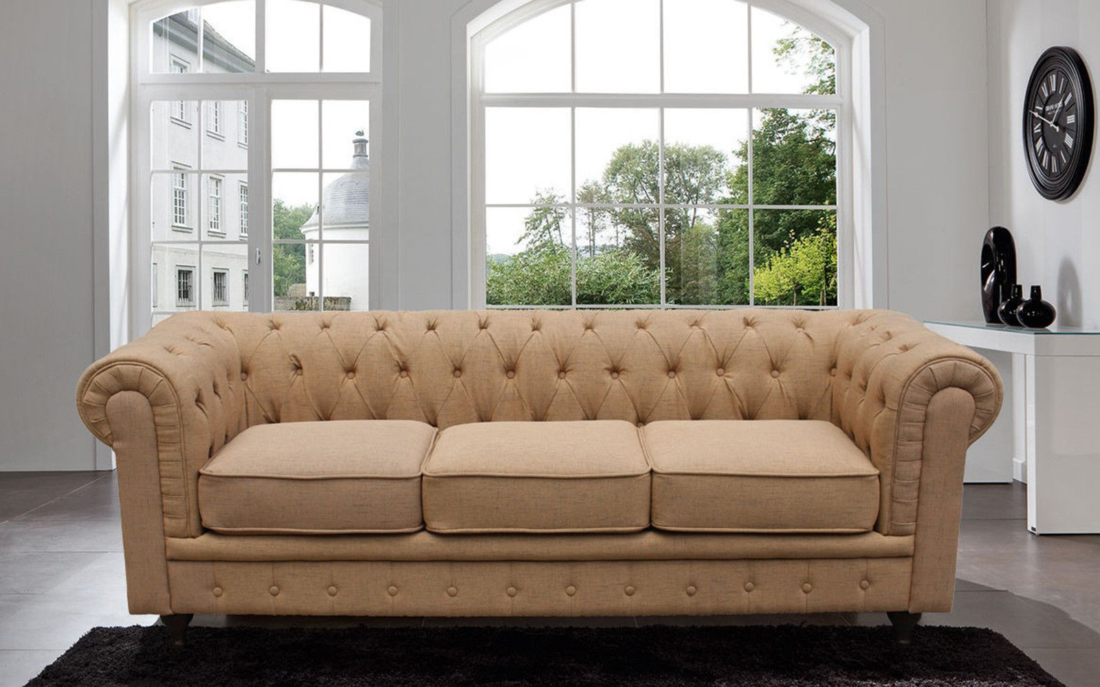 Antike Sofas Living Classic Scroll Arm Tufted Linen Fabric Chesterfield Large Sofa