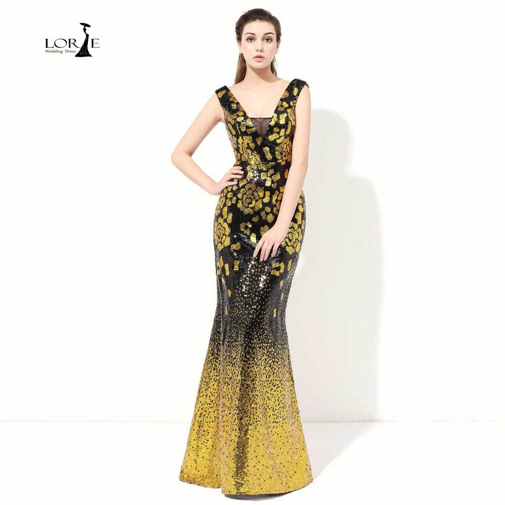 Click to buy ucuc lorie mermaid prom dresses cheap party dress gold