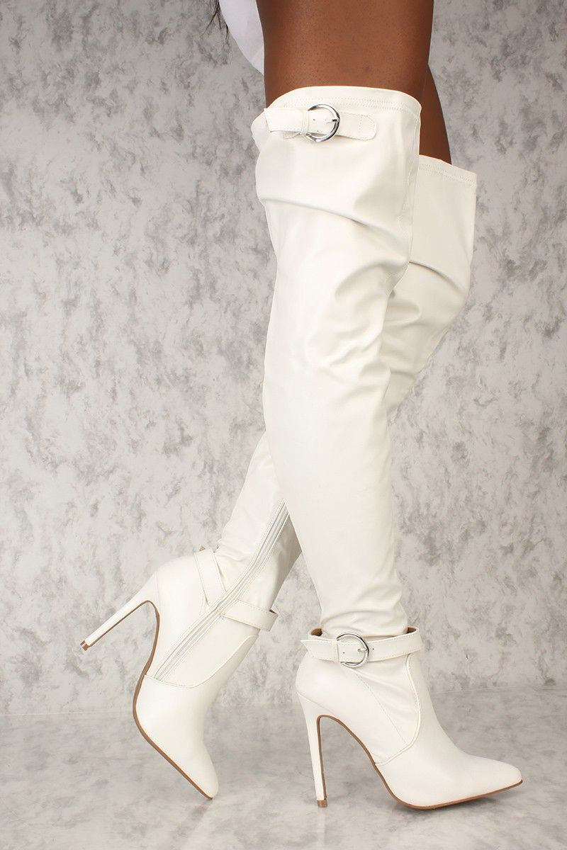 bd0978d33db Sexy White Buckle Pointy Toe Thigh High Boots Faux Leather in 2019 ...