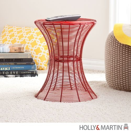 Metal Spiral Dark Red 18.5-Inch Accent Table | Accessorize Your ...