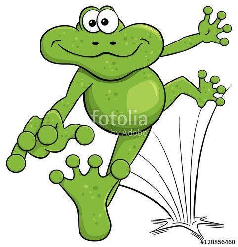 Vektor Hupfender Cartoon Frosch Auf Weissem Hintergrund Frosche