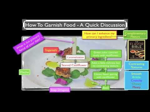 How To Garnish Food:    In this video we discuss how to garnish food and some concepts to take into consideration when planing a completed dish.
