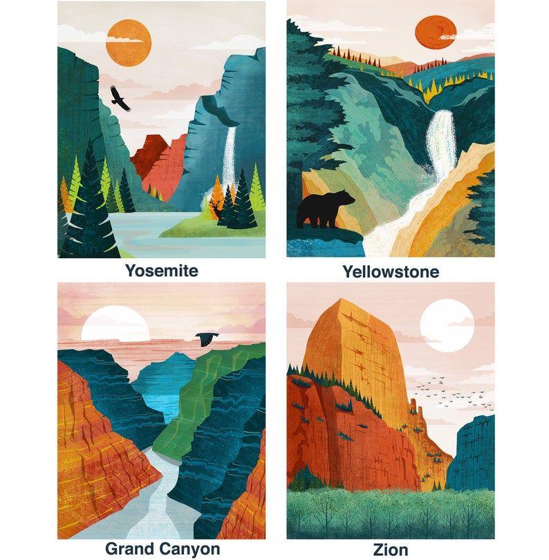National Park Poster Set Of 3 Prints National Park Print Yosemite Yellowstone Grand Canyon Prints Plus Many More Yosemite Art Park Art National Park Posters