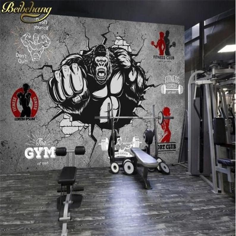 Custom Gym Mural Crossfit Wallpaper Workout Room Fitness Wall Etsy Gym Wall Decor Fitness Wall Art Removable Wall Murals