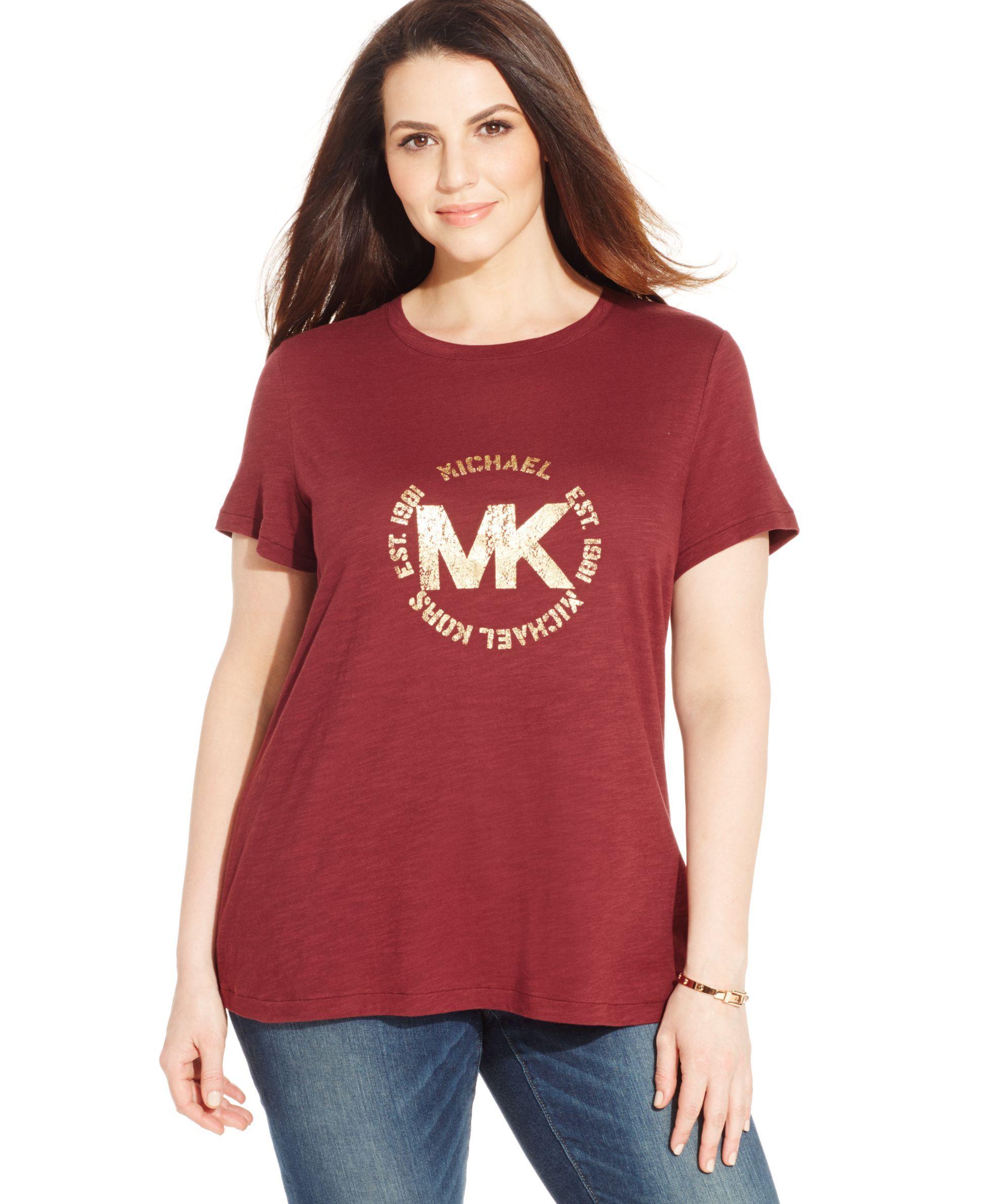 321052c4b Michael Michael Kors Plus Size Metallic Logo Tee Logo Tee, Graphic Tee  Shirts, Plus