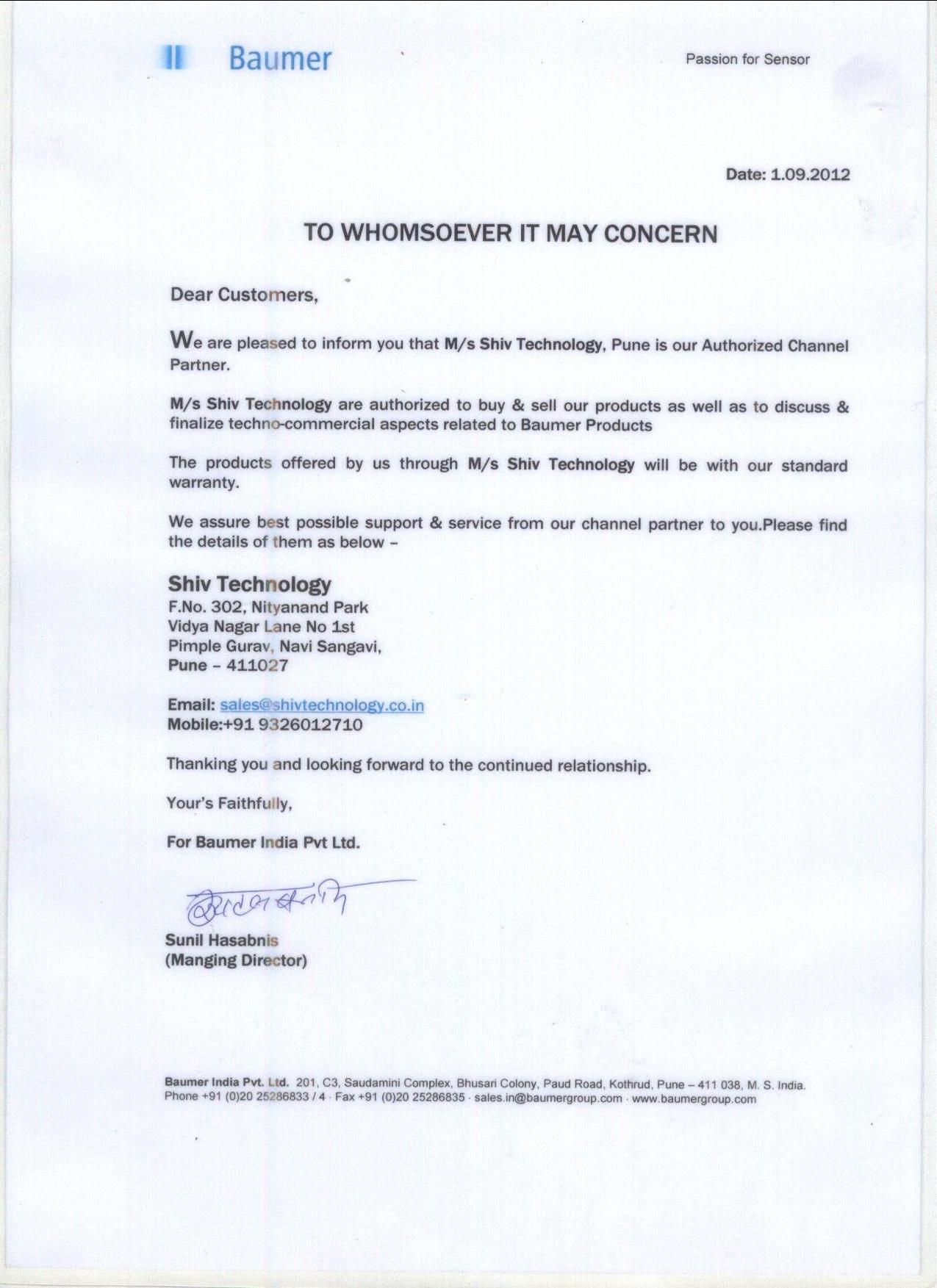 Authorization Letter  Shivtechnology    Letter