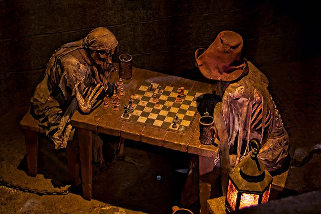 These skeletons in line for the Pirates of the Caribbean ride are supposedly dead because the chess pieces are locked in an eternal stalemate.