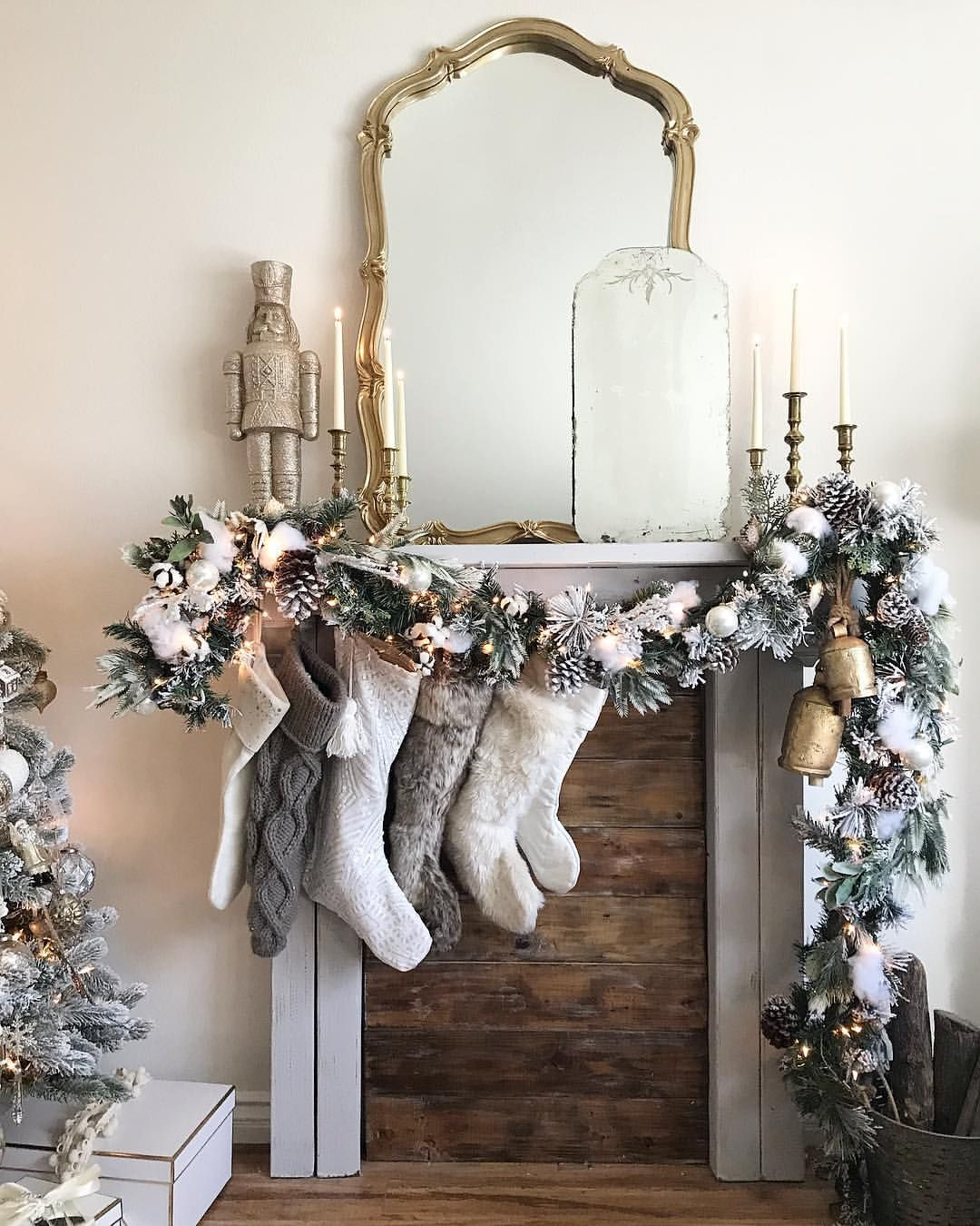 I think I had the most fun decorating this mantle, it is two different style gar…