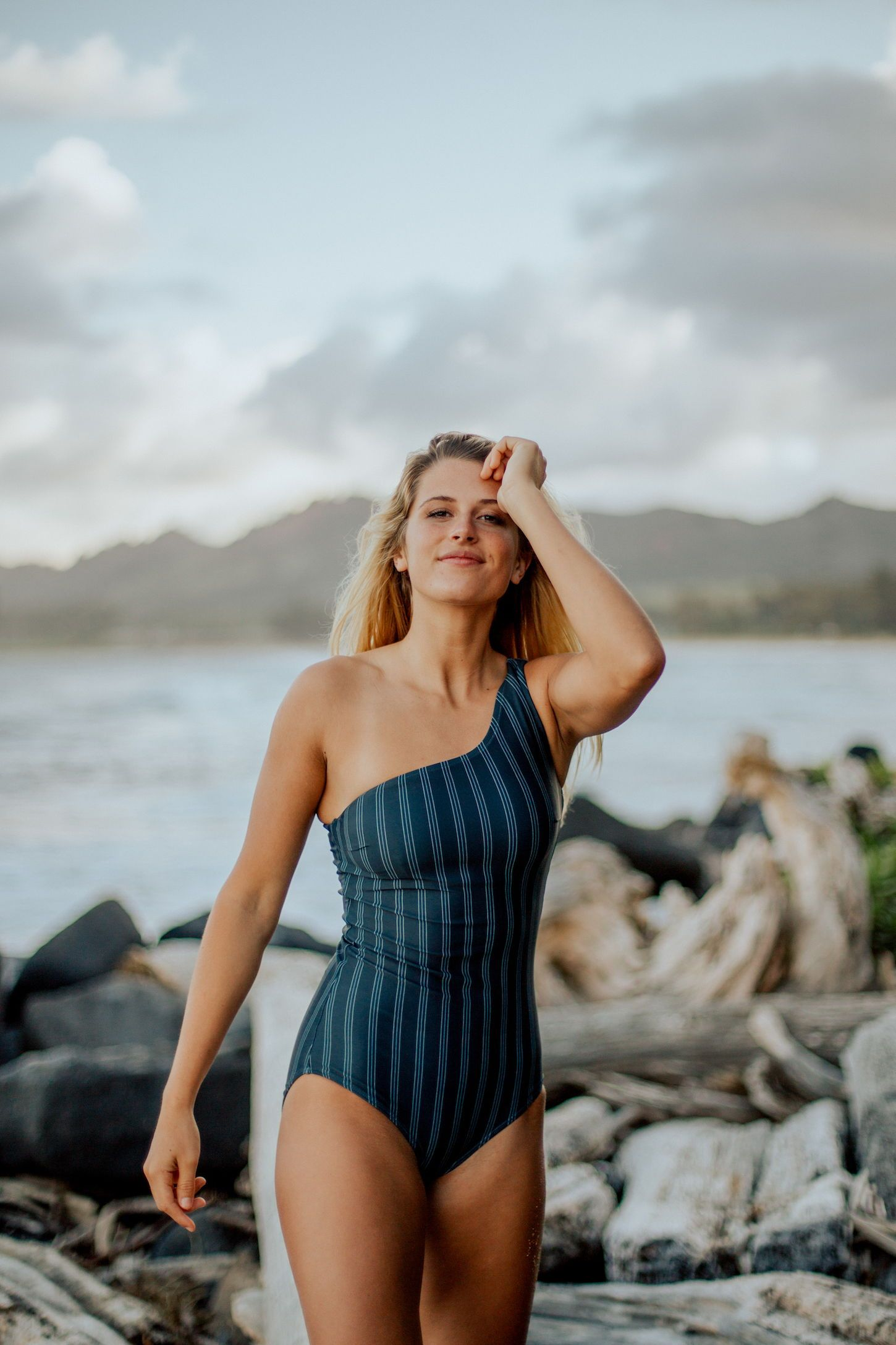 1dfbcf791d Deep Seas Icon One Piece Swimsuit. A classic silhouette that is feminine  and timeless. This favorite One-piece style is navy with vertical  pinstripes ...