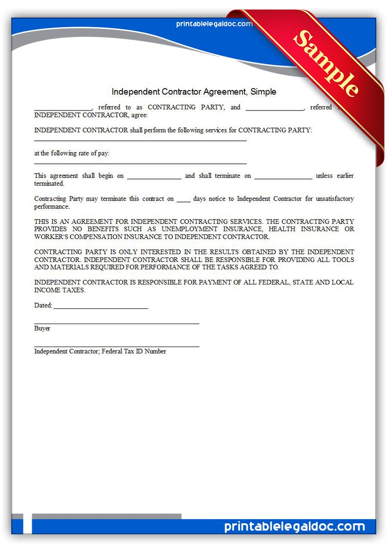 Independent Contractor Agreement Simple Independent Contractor Contract Template Contractors Template for independent contractor agreement