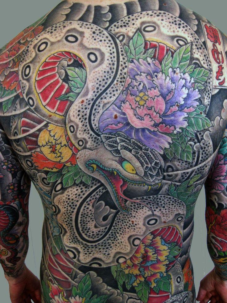 Full Back Snake Tatuaje de serpiente japonesa, Tatuajes