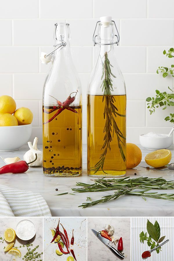 infuse your own olive oil with these glass cordial bottles and fresh herbs. 1. Gather bottles and fresh herbs. 2. Wash herbs and let them dry thoroughly 3. Combine herbs and olive oil in bottle and let sit for one week in a cool, dry spot 4. Enjoy! A few of our favorite infusion recipes include: lemon, sea salt, and thyme; dried chili pepper and lime; garlic and chili pepper; and oregano, bay leaves, and ground chili pepper.: