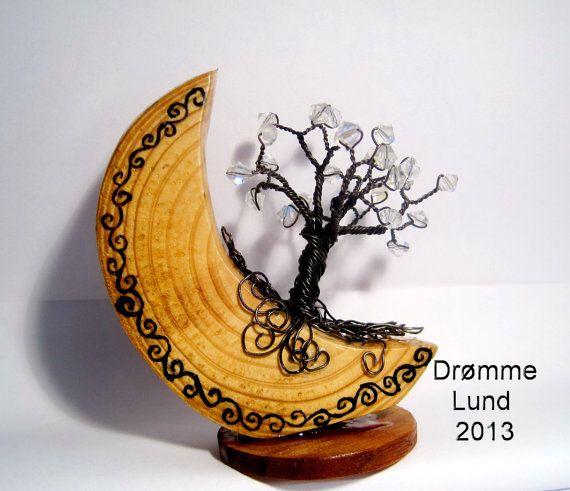 Celtic Moon OOAK Wire Tree Decoration by DrommeLund on Etsy