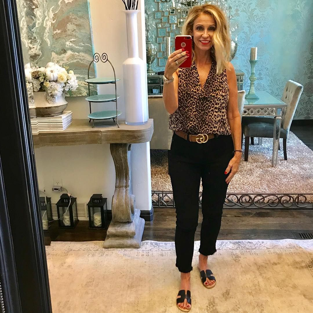 d58243ff89c Happy Friday! Keeping it comfy casual today. Leopard tank by Vince ...
